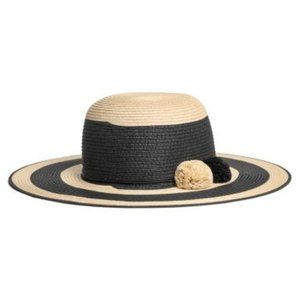 H&M Wide Brim Striped Straw Hat with Pom Poms